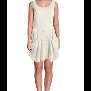 Free People Dress Mini Textured Cutout Boho L